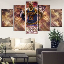 Fashion Gift Artwork Print Basketball Sport Team Cleveland Cavaliers Room Decor Poster LeBron James Wall Art 5PCS/Set Customized
