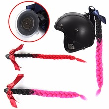 Protective Gear 1pc Motorcycle Helmet Braid Gradient Ramp Sucker Removable Pigtail Ponytail 2 Colors