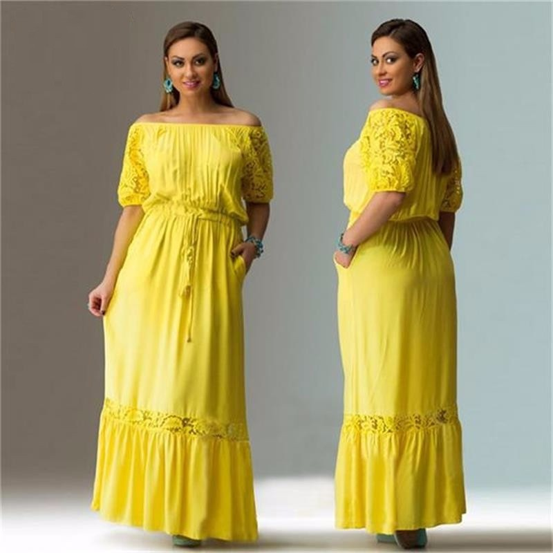 summer beach dress 2018 maxi dress short sleeve casual lace loose plus sizes dress elegant drawstring women big size clothing 13