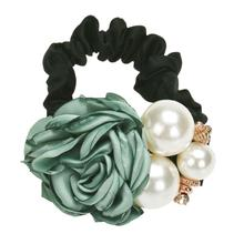 Hot 2017 Hair Accessories Girls Hairwear Pearls Beads Rose Flower Elastic Hair Bands Rope Scrunchie Ponytail Holder Hot Dropship