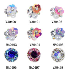 10pcs/lot NEW 3D Gem Stone Flowers Nail Charms Pearl Crystal Nail Art Decorations Glitter Rhinestones Nails Supply MA0490-MA0498