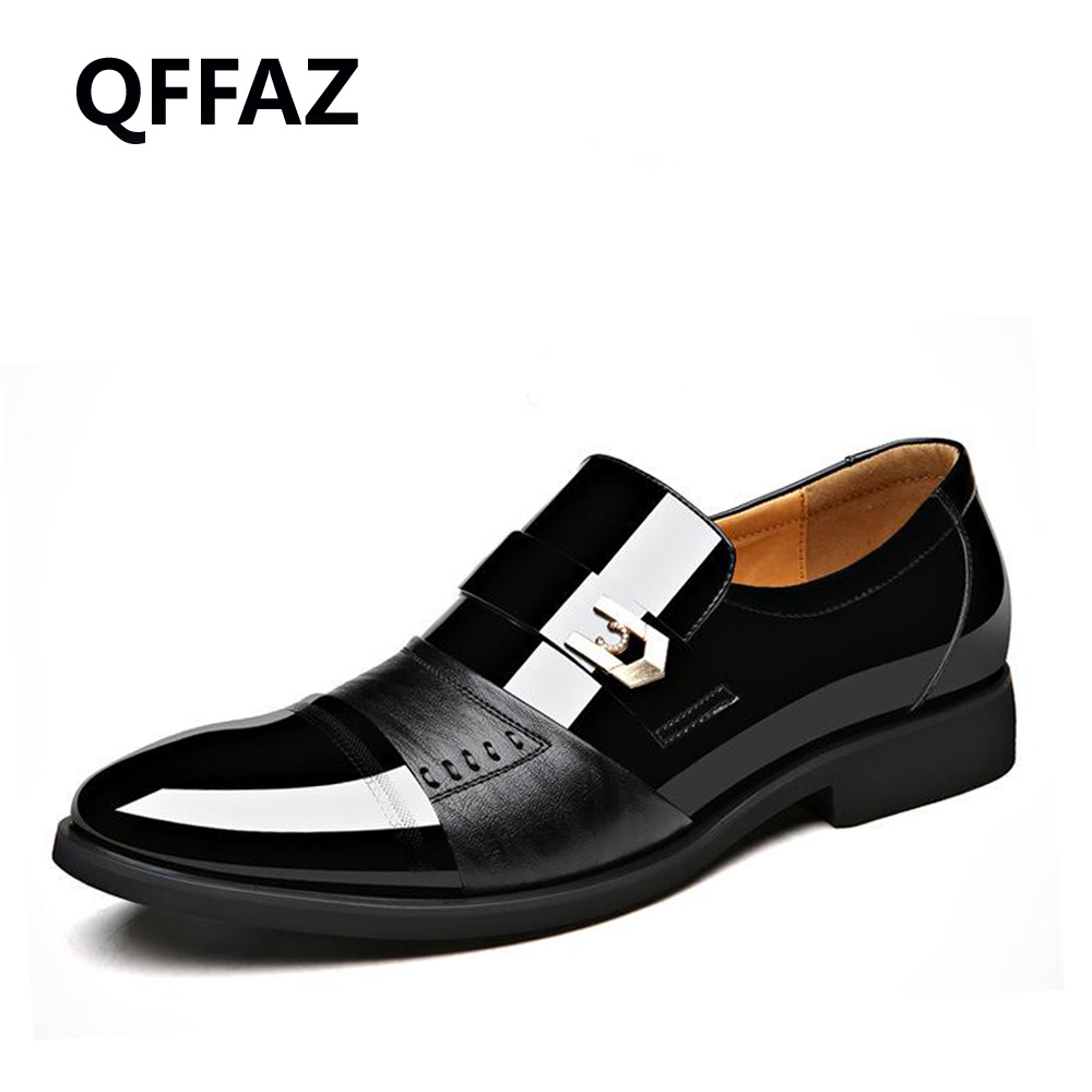 QFFAZ New Pointed Toe Patent Leather Mens Flats Shoes Business Dress Shoes Mens Oxford Shoes Wedding Shoes <br>