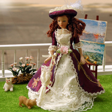 Hot 1pcs 1/12 Dollhouse Miniature Porcelain Dolls Classical Lady with Hat Girl Doll Realistic Baby Toys Birthday Gift for Girls