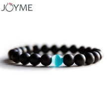 Small Size Opal Stone Bracelet For Men Women Black Natural Stone Healing Reiki Prayer Beads Yoga Strand Bracelet Bangles 16cm(China)