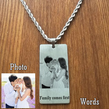 Engraved dog tag personalize with your own photo & text. etched pendant necklace men jewelry dropshipping