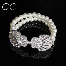 Elegant fashion jewelry bridal's bracelets for women wedding party simulated pearl bangles jewellery austrian crystal gift E019