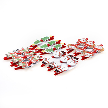 6PCS/Set 3*5*1cm Santa Claus Christmas Wood Clips Photo Paper Clothespin Christmas Party Decoration