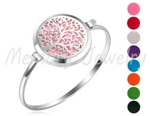 Newest Essential oil bracelet Tree life stainless steel locket diffuser bracelet essential jewellery with oil pads