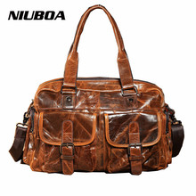Men Travel Bags High Quality Genuine Leahter Travel Duffel New Korean Casual Leather Luggage Male Solid Zipper Shoulder Bag