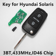 Car Remote Key for Hyundai SOLARIS 3 Buttons Keyless Entry Fob Controller 433MHz ID46 Chip