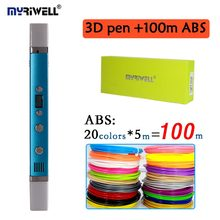 MR RB-100C Add 100 Meter 20 Color ABS Filaments 3D Pen 1.75mm ABS/PLA Children Best Intelligence Education Gifts 3D Doodle Pen(China)