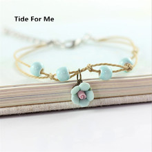2017 new trendy jewelry pink adjustable flower bracelet handmade ceramic bracelet for women blue beaded bracelets with charm(China)