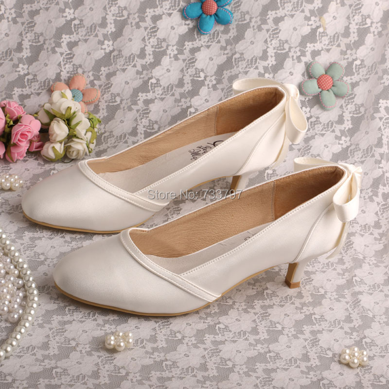 Wedopus MW365 Women Low Heel Bridal Party Shoes Round Toe with Bowtie Dropship<br>