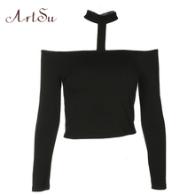 Buy ArtSu Sexy Shoulder Tops Women Long Sleeve Slim Halter T-shirt Black Tee Shirt Femme Cropped Punk Tshirt ASTS20285