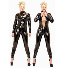 Buy Sexy Black Catwoman Jumpsuit Latex PVC Catsuit Costume Women Faux Leather Lingerie Bodysuit Clubwear Catsuit Cosplay Fancy Dress
