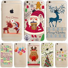 Merry Christmas Gift Celebration Santa Claus Deer Tree for iPhone 7 Plus 6 6s 5 5s SE Soft TPU Silicone Phone Case Cover