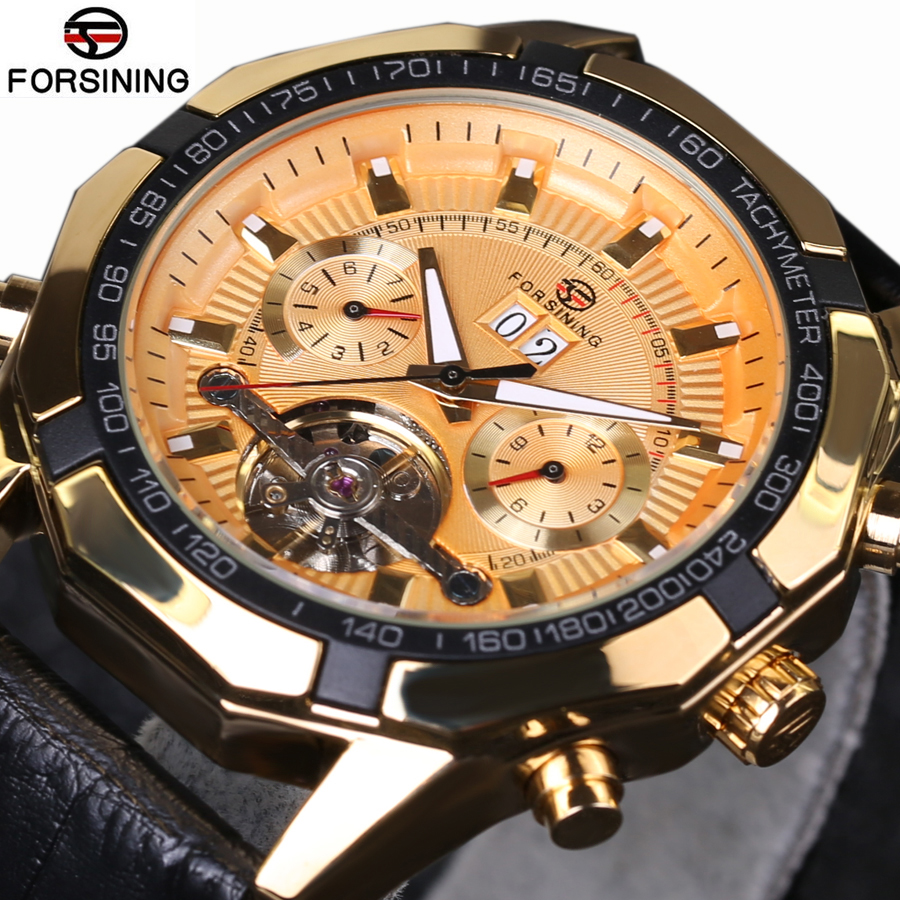 Luxury Brand Mechanical Tourbillion Sport Men Watches Genuine Leather Strap Automatic Watch Military  2018 New Classic Design<br>