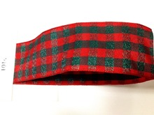 N1014 38mm X 25yards Wired Edge Scottish Checked Plaid Ribbon. Gift Bow,Wedding,Cake Wrap,Tree Decoration,Wreath