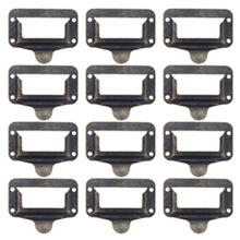 12 PCS Zinc alloy Retro Furniture Cabinet Drawer Label Tag Pull Frame Handle Name Card Holder FULI