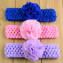 10pcs mesh tulle chiffon flower crochet headband soft stretch head bands red royal blue pink lavender peach ivory gray