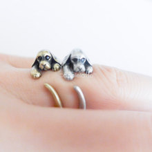 Handmade Cocker Spaniel Ring Adjustable Pet Animal Wrap Cute Adorable Dog Rings Fashion Jewelry For Women Men Gifts