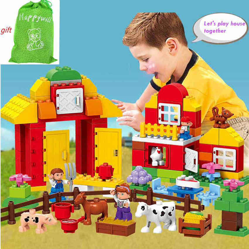 Happywill HM068 120PCS  big size building blocks DIY toys Early Learning self-locking brick baby toys farm educatio compatible<br>