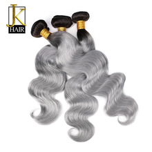 Ombre Brazilian Hair Bundles 1B/Grey Remy Body Wave Weaving Natural Human Hair Weave Bundles 1PC Extension Sliver Gray JK Hair