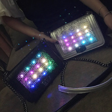 Fashion Led Neon Light Small Bag 2017 Summer New Hollow Chain Bag Personalized Single Shoulder Bag