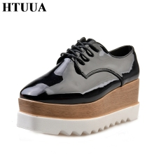 HTUUA Women Creepers Flat Platform Shoes 2017 British Style Spring Autumn Fashion Lace-Up Flats Casual Ladies Shoes SX111