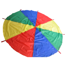 Hot 1 Pc Kids Outdoor Sports 8 Handle Rainbow Parachute Play Games Children Cooperation Development Umbrella Jump-sack Toys 2016