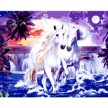 NEW Oil Paintings By Numbers DIY Digital horse Pictures Frameless Seascape Coloring By Number On Canvas Home Decoration 40x50(China)