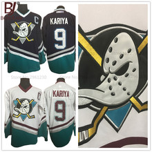 BONJEAN Mens Mighty Ducks Movie Jersey CCM #9 Paul Kariya Ice Hockey Jersey Stitched Purple White Color Hockey Jerseys