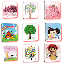 1pcs Cartoon Flower PVC Switch Stickers Carton Switch Cover Protected Wall Stickers Removable Vinyl Decals For Home Decor