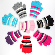 Winter Cotton Baby Gloves Kids Warm Mittens Children Boys Striped Mitts Girls Students Knitted Full Finger Stretch Handschoen(China)