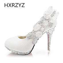 2015 new bridal shoes size 41 high heels flowers / women gold silver red diamond wedding shoes bridesmaid shoes