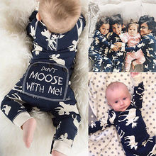 Fashon Newborn Infant Baby Girl Boy Moose Deer Long Sleeve Cotton Romper One-pieces Xmas Outfits Christmas
