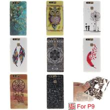 Cheap Abstract Ultra Thin TPU Silicone Soft Phone Case Cover Bag Cove For Huawei hauwei huawai P9 Tree Flower Tiger Owl