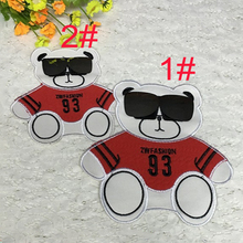 Leather Embroidery Patch Cute  Wearing Sunglasses big / small Bear Sewing Patches For Family fitted  Lovers Clothing accessory