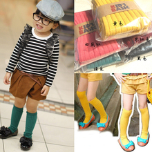 Toddler Baby Socks School Cotton Knee High Kids Boys Girls Socks Candy Colors 1-8Y 5 ColorsPD