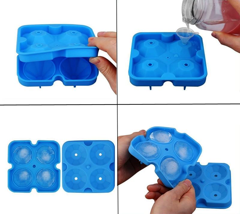 2018 New Silicone Ice Cube Tray Diamond Shape 3D Ice Cube Mold 4 Cavity Ice Ball Maker Home Bar Ice Cream Tools Kitchen Gadget