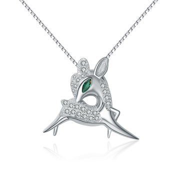 OPK Vintage 925 Sterling Silver Necklace Green Eyes Deer Inlaid Simulated Emerald Zirconia Box Chain Valentines Gift SX100