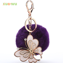 Factory Wholesale New 2016 Cute Butterfly 8cm Big Genuine Rabbit Fur Ball Key Ring Car Key Chain Bag Charm Pendant