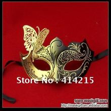 C003-BG Black Gold Venetian Mask with Glitter Butterfly Masquerade Mask Wholesale Free Shipping