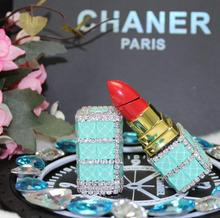 Diamond luxury lipstick lighter Gas lighters, ms sapphire set auger gifts(China)
