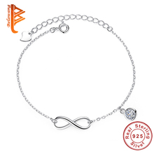 Buy Fashion 925 Sterling Silver Crystal Zircon Infinity Charm Bracelet Adjustable Link Chain Bracelet Women Wedding Jewelry Gift for $6.99 in AliExpress store