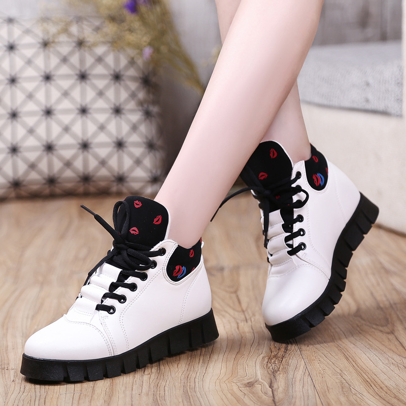 2016 Fashion Wedges Platform Causal Shoes Woman Spring Fall Women high Shoes Leather Black Red Botas Mujer breathable Zapatillas<br>