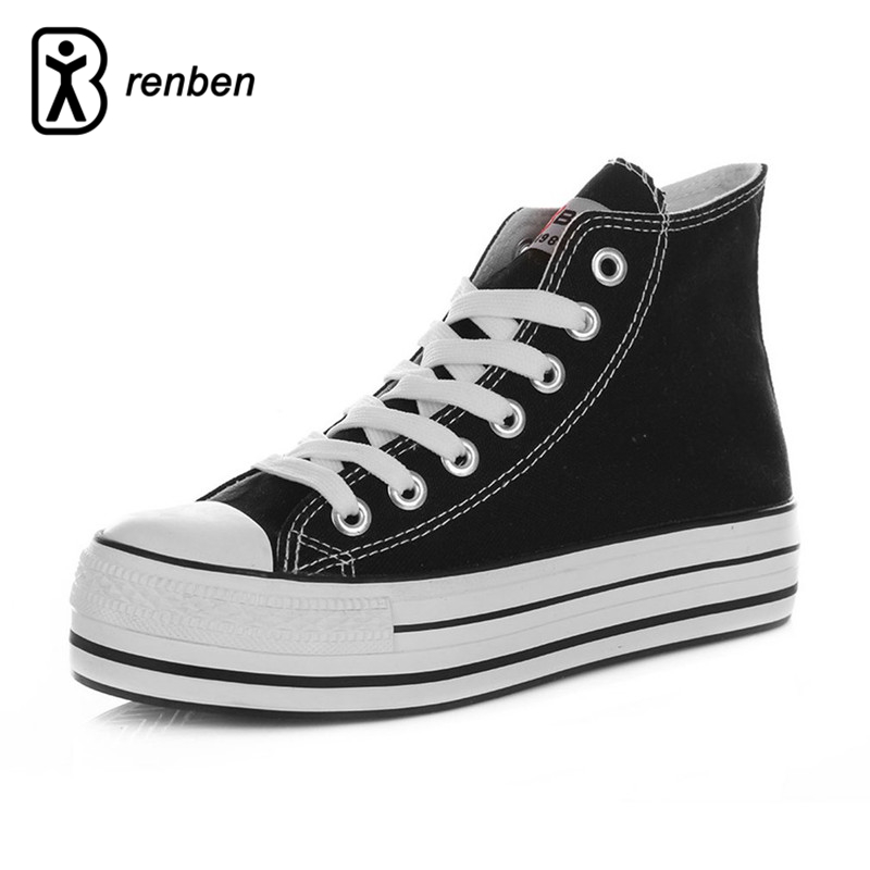 RenBen Canvas Platform Casual Shoes Women Fashion Red High Uppers Pump Female Shoes For Women Zapatos mujer Lace-up Footwear<br>