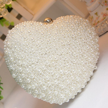Pearl Women Evening Clutch Bag Chain Purse Ladies Wedding Party Bridal Shoulder Crossbody Bags Heart Shape Cell Phone Pouch(China)