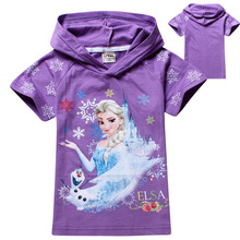New Girls Tops Tees Kids T-shirt Cartoon Summer Tops Girl's Princess Tees 3 Colors in stock,2-9 years Children Tshirts Retail(China)