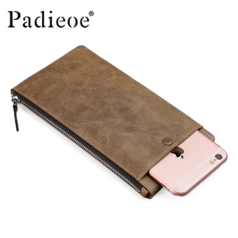 Padieoe brand vintage genuine leather men wallets long slim zipper male clutch <br>